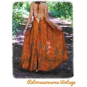 Silk Sari Orange Boho High Low Halter Dress